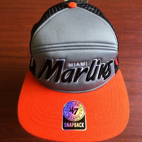 the latest 98e05 0b205 Miami Marlins SnapBack Hat 47 brand